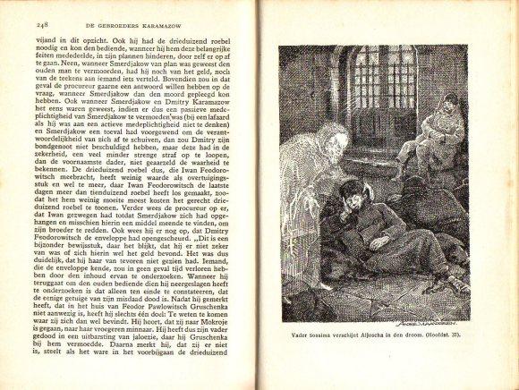 Prent van André Vlaanderen van een door Franse vertalers uitgevonden scène uit De gebroeders Karamazow (circa 1930)